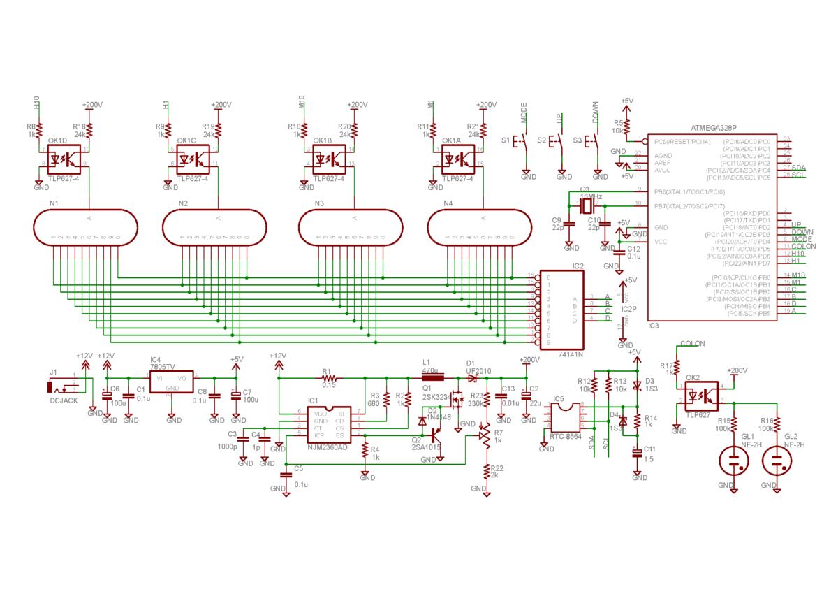 ニキシー管時計の回路図