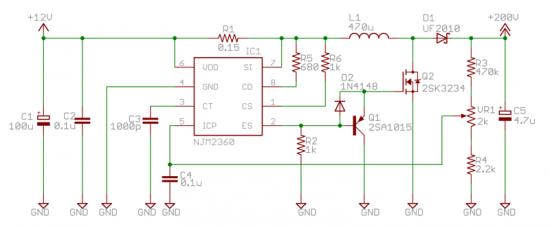 ニキシー管昇圧回路