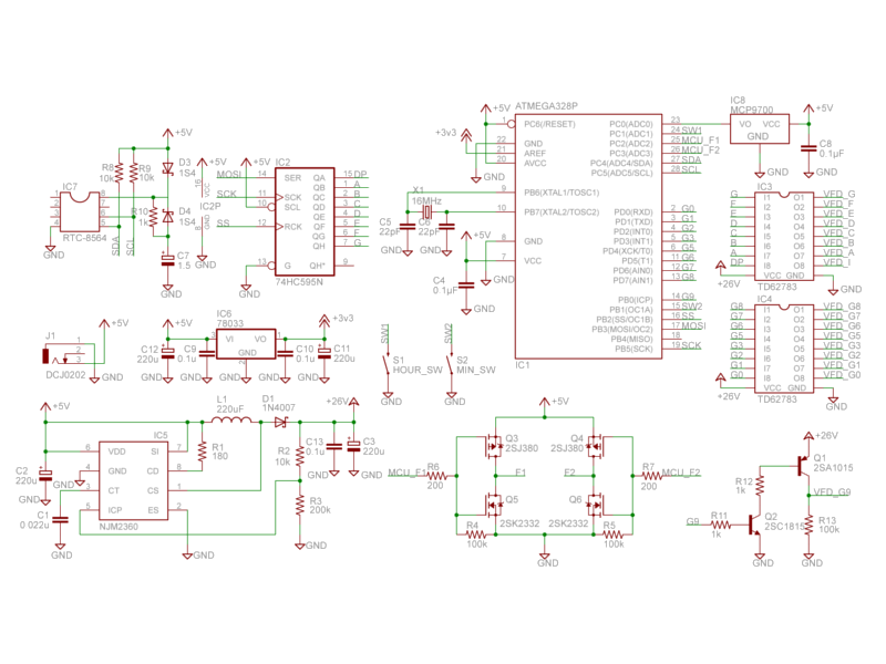 VFD Clock Schematic