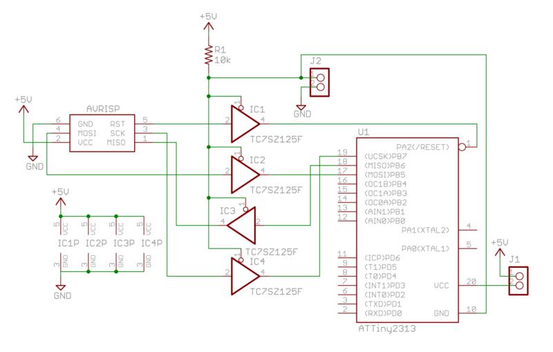 AVR書き込み基板の回路の一部