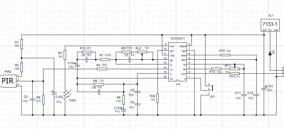 焦電センサモジュール回路
