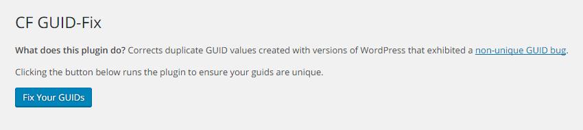 GUID-Fix プラグイン画面