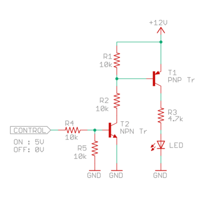 PNPトランジスタの駆動回路